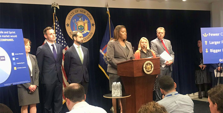 New York State Attorney General Letitia James made the announcement of the lawsuit today
