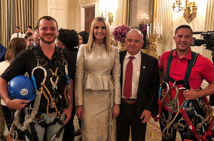 Pictured during the event are: (Left to Right) Cody Jones (Tower & Turbine Technologies LLC), Presidential Advisor Ivanka Trump, NATE Chairman Jimmy Miller and Ky Nguyen (Rio Steel and Tower LTD). At the White House signing ceremony, NATE committed to providing training and professional development opportunities for 10,000 workers over the next five years.