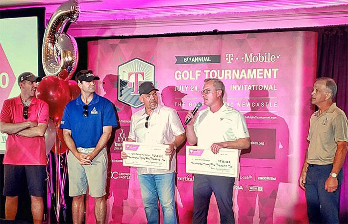 The Tower Family Foundation and Warriors4Wireless were beneficiaries of the successful T-Mobile tournament supported heavily by industry businesses. Pictured from left to right are: