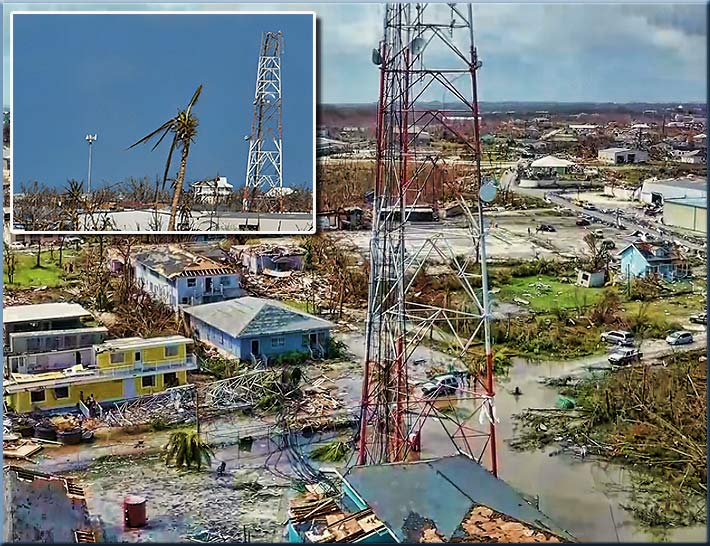 Hurricane Dorian, crippled the power grid and many cell towers. The self supporting tower above had top sections sheared off, almost landing on a home below it while the monopole at left in the inset remained standing.