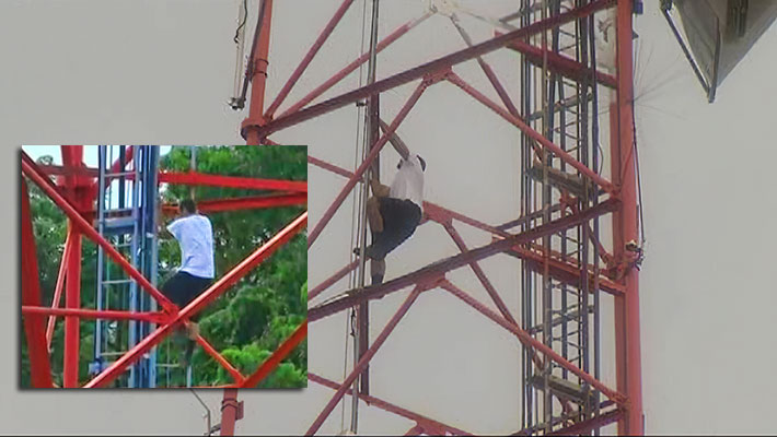 For over seven hours yesterday, Orlando, Fla. emergency workers tried to coax an unauthorized climber down from a TV tower. He eventually came down on his own accord.