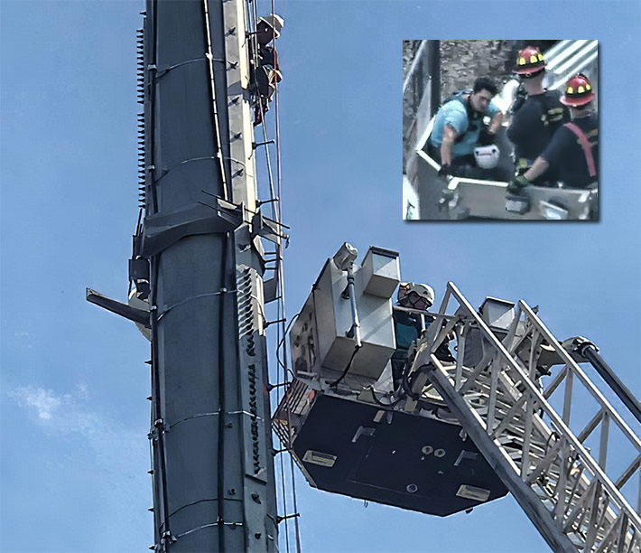 The unidentified Enertech Resources employee was safely brought to the ground by firefighters