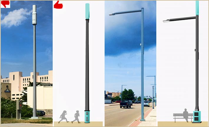 The city's guidelines prefer fully enclosed meters versus standalone . Small cell developers are also encouraged to used existing police camera poles.