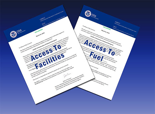 The Department of Homeland Security has provided access and fuel letters to assist in wireless maintenance and deployment