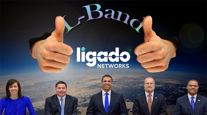 The order approving Ligado's application was adopted without dissent by FCC Commissioners