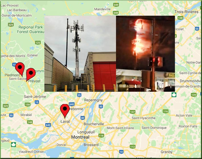 Since Friday, three cell towers have been set ablaze in three towns near Montreal