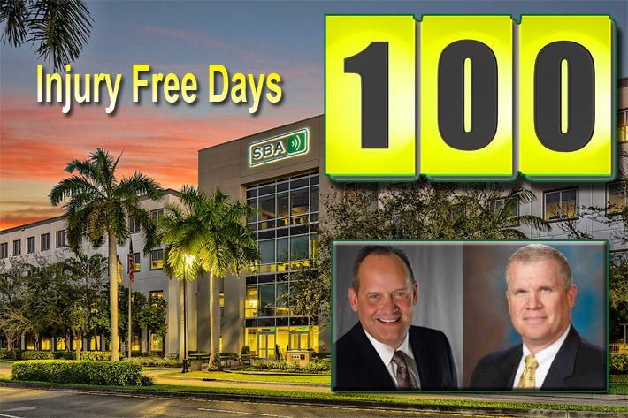 SBA Communications Vice President of Risk Management David Sams, left, and Sr. Director of Risk Management Nick Wilkerson announced the 100-day milestone today.