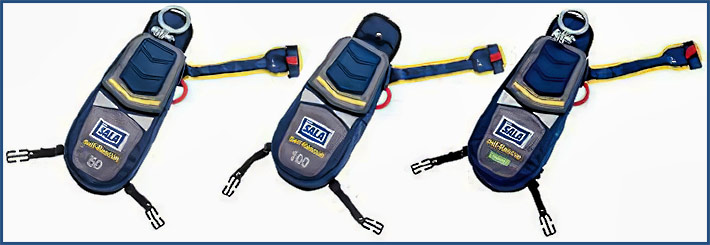 The 3M™ DBI-SALA® Self-Rescue Descent System is a self-rescue system that has a harness mounted backpack containing a spooled lifeline feeding through a sealed descent device. In an emergency, the user can release the Easy-Link™ D-Ring and initiate a descent or, if the user is incapacitated, a rescuer can initiate the descent using a rescue pole