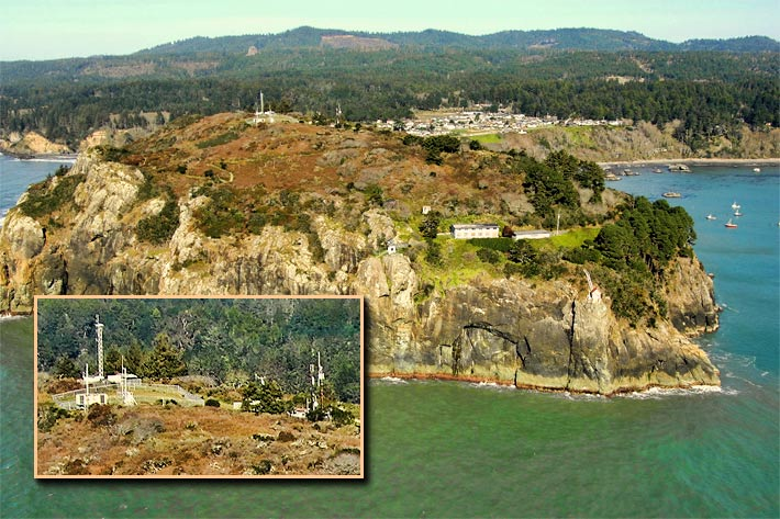 Verizon will be dismantling the structures, (inset at right). To the left is a tower used by the National Oceanic & Atmospheric Administration