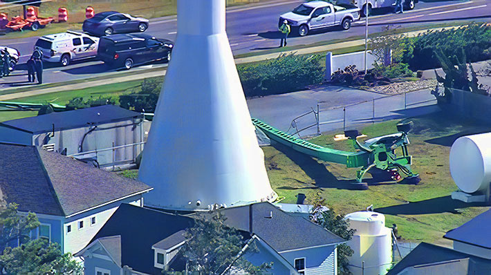 Two tower techs were killed when their man lift toppled over onto electrical lines in Bethany Beach, Delaware