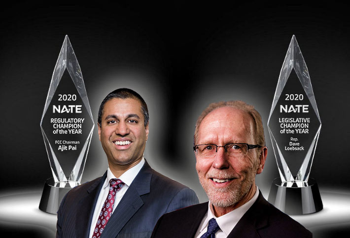FCC Chairman Ajit Pai (left) received NATE's Award and Loebsack
